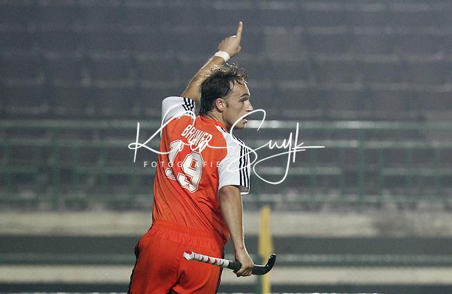 CHENNAI-Champions Trophy hockey mannen. Matthijs Brouwer heeft gescoord, zaterdag tijdens de wedstrijd Nederland-Pakistan. ANP PHOTO KOEN SUYK