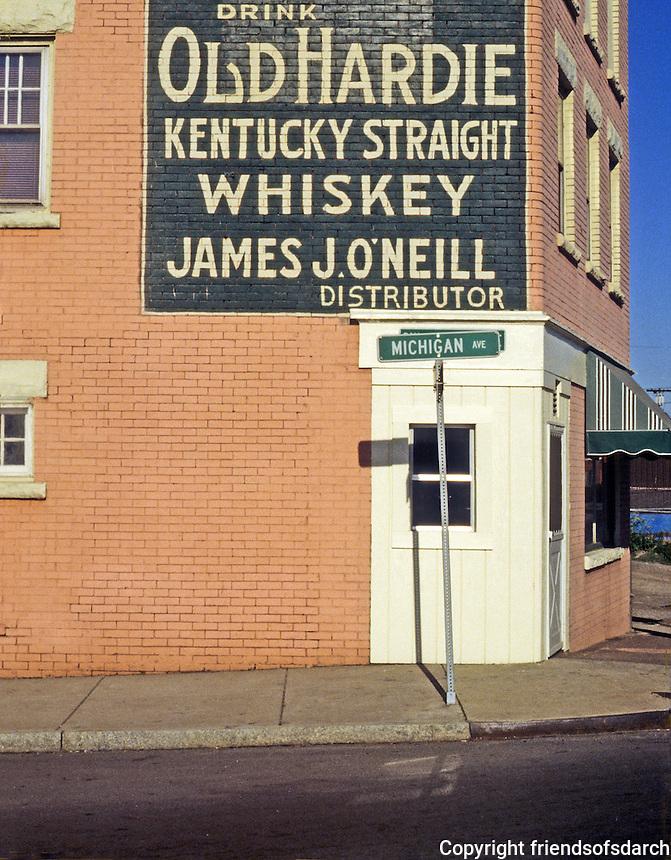 Buffalo: Bar sign near Buffalo River, Michigan St. next to bridge. Photo '88.