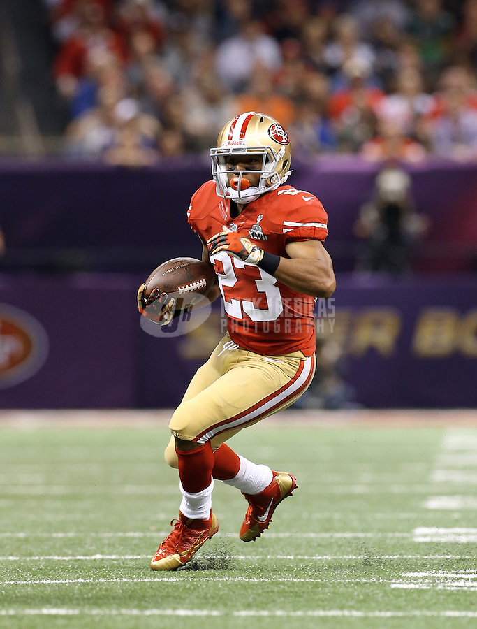 Feb 3, 2013; New Orleans, LA, USA; San Francisco 49ers running back LaMichael James (23) against the Baltimore Ravens in Super Bowl XLVII at the Mercedes-Benz Superdome. Mandatory Credit: Mark J. Rebilas-