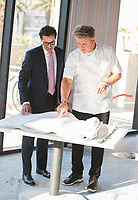 LAS VEGAS, NV - August 5, 2017: ***HOUSE COVERAGE*** ***IMAGES APPROVED FOR RELEASE*** GM of Caesars Palace  Sean McBurney and Gordon Ramsay pictured as Chef Gordon Ramsay visits the construction site for Hell's Kitchen at Caesars Palace in Las Vegas, NV on August 5, 2017. Credit: Erik Kabik Photography/ MediaPunch