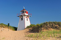 Lighthouse in sand dunes at Covehead Harbour