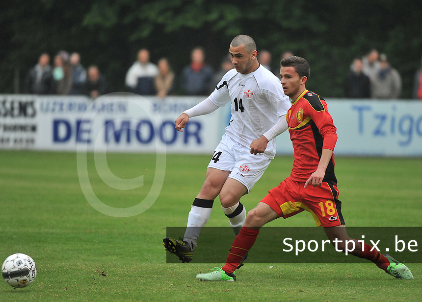 Georgia U19 - Belgium U19 : Siebe Schrijvers (18) and Giorgi Pantsulaia (14)<br /> foto DAVID CATRY / Nikonpro.be