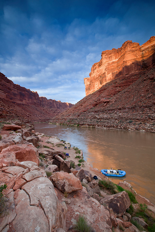 Whitewater raft rests at camp near mile 61 on the San Juan River in southern Utah, USA
