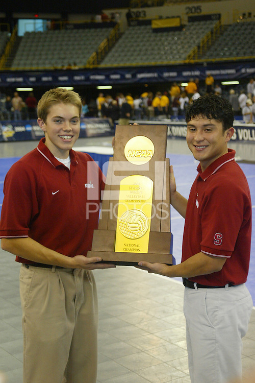 18 December 2004: Stanford Cardinal managers during Stanford's  30-23, 30-27, 30-21 victory over Minnesota in the 2004 NCAA Women's Volleyball National Championships in Long Beach, CA. Stanford won their sixth women's volleyball title in school history.