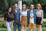 Spanish actor and film director Paco Leon (2L) poses with actresses Candela Pena, Natalia de Molina and Alexandra Jimenez and actor Luis Callejo during `Kiki´ film production in Madrid, Spain. August 31, 2015. (ALTERPHOTOS/Victor Blanco)