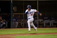 AZL Dodgers Mota Juan Zabala (60) runs home during an Arizona League game against the AZL Rangers at Camelback Ranch on June 18, 2019 in Glendale, Arizona. AZL Dodgers Mota defeated AZL Rangers 13-4. (Zachary Lucy/Four Seam Images)