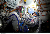In Earth Orbit - September 18-20, 2006 -- Spaceflight participant Anousheh Ansari photographed in the Soyuz TMA-9 spacecraft in-route to the International Space Station with the Expedition 14 crewmembers. Ansari is wearing a Russian Sokol launch and entry suit..Credit: NASA via CNP