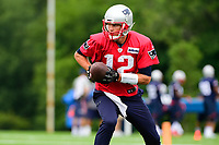 July 27, 2017: New England Patriots quarterback Tom Brady (12) hands off the ball at the New England Patriots training camp held on the practice field at Gillette Stadium, in Foxborough, Massachusetts. Eric Canha/CSM
