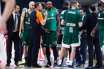 Panathinaikos KC Rivers talking with referee during Turkish Airlines Euroleague Quarter Finals 4th match between Real Madrid and Panathinaikos at Wizink Center in Madrid, Spain. April 27, 2018. (ALTERPHOTOS/Borja B.Hojas)