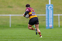 Sam Hanks of Ampthill Rugby (23) breaks away to score a try after he intercepts a kick during the Greene King IPA Championship match between Ampthill RUFC and Nottingham Rugby on Ampthill Rugby's Championship Debut at Dillingham Park, Woburn St, Ampthill, Bedford MK45 2HX, United Kingdom on 12 October 2019. Photo by David Horn.