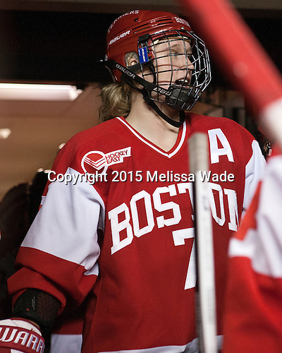 Shannon Stoneburgh (BU - 7) -  The Boston College Eagles defeated the visiting Boston University Terriers 5-0 on BC's senior night on Thursday, February 19, 2015, at Kelley Rink in Conte Forum in Chestnut Hill, Massachusetts.