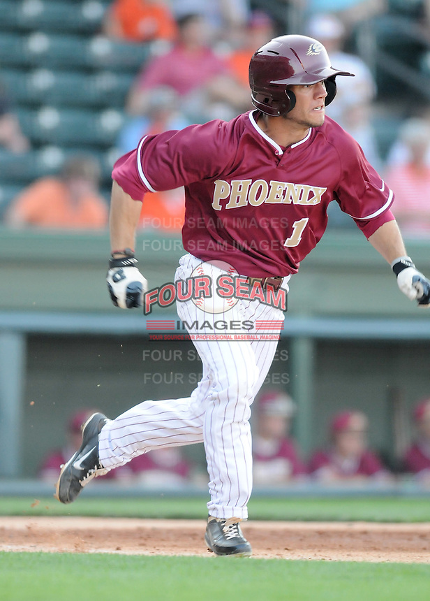 Outfielder Niko Fraser (1) of the Elon College Phoenix in a game against the Clemson Tigers on March 21, 2012, at Fluor Field at the West End in Greenville, South Carolina. Clemson won 4-2. (Tom Priddy/Four Seam Images)
