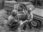 September 2, 1987 Buck Meadows, California &ndash; Stanislaus Complex Fire -- Sierra Hotshots Captain Mike Freed discusses plans with dozer operator. The Stanislaus Complex Fire consumed 28 structures and 145,980 acres.  One US Forest Service firefighter, David Ross Erickson, died from a tree-felling accident. <br /> <br /> Sierra Hotshots Captain 15-A Mike Freed