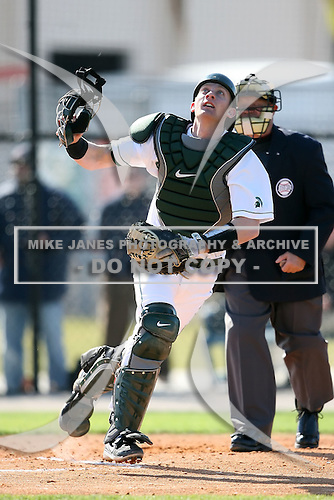 February 20, 2009:  Catcher Eric Roof (2) of Michigan State University during the Big East-Big Ten Challenge at Jack Russell Stadium in Clearwater, FL.  Photo by:  Mike Janes/Four Seam Images