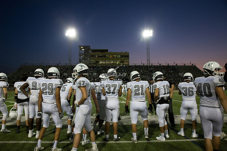 The Vandegrift Vipers prepare for a game against the Permian Panthers at Odessa's historic Ratliff Stadium on  Friday, September 1, 2017.