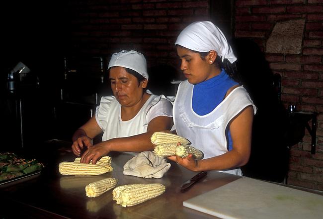 Cooks at La Capilla Restaurant, Zaachila, Oaxaca State, Mexico