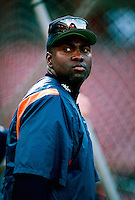 Tony Gwynn of the San Diego Padres during a game at Anaheim Stadium in Anaheim, California during the 1997 season.(Larry Goren/Four Seam Images)