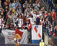 New England Revolution fans acknowledge West, Texas.In a Major League Soccer (MLS) match, the New England Revolution (blue/red) defeated Philadelphia Union (blue/white), 2-0, at Gillette Stadium on April 27, 2013.