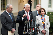 Incoming United States House Majority Leader Steny Hoyer (Democrat of Maryland) speaks to reporters at the White House after meeting with US President Donald J. Trump on border security and reopening the federal government at the White House in Washington, DC on Wednesday, January 2, 2018.  Pictured from left to right: United States Senate Minority Leader Chuck Schumer (Democrat of New York), Leader Hoyer; US Senate Minority Whip Dick Durbin (Republican of Illinois) and incoming Speaker of the US House of Representatives Nancy Pelosi (Democrat of California).<br /> Credit: Ron Sachs / CNP