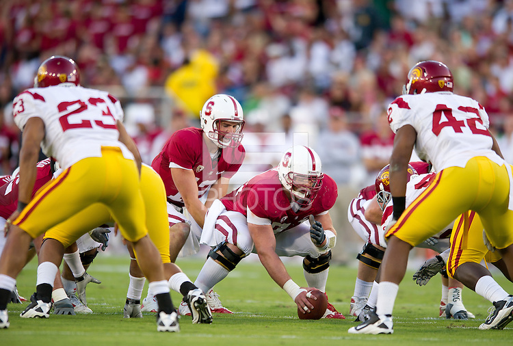 STANFORD, CA - October 9, 2010: Andrew Luck (12) during a football game against USC in Stanford, California. Stanford beat USC 37-35.