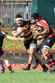 Tulelel Masoe tries to fight his way past Lage Fasavalu. Counties Manukau Premier Club Rugby game between Papakura and Bombay, played at Massey Park Papakura on Saturday June 16th 2018. Bombay won the game 36 - 17 after leading 17 - 7 at halftime.<br /> Papakura Ray White 17 - Kris Smithson 2, Taafaga Tagaloa tries, Monty Punatai conversion.<br /> Bombay 36 - Jordan Goldsmith, Haamiora Clarke 2, Patrick Masoe, Mitchell Thackham, Chay Mackwood tries, Jordan Goldsmith 2, Ki<br /> Anufe conversions.<br /> Photo by Richard Spranger.