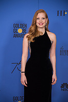 Jessica Chastain poses backstage in the press room at the 75th Annual Golden Globe Awards at the Beverly Hilton in Beverly Hills, CA on Sunday, January 7, 2018.<br /> *Editorial Use Only*<br /> CAP/PLF/HFPA<br /> &copy;HFPA/PLF/Capital Pictures