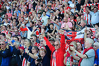 Lincoln City fans celebrate after winning the league<br /> <br /> Photographer Chris Vaughan/CameraSport<br /> <br /> The EFL Sky Bet League Two - Lincoln City v Tranmere Rovers - Monday 22nd April 2019 - Sincil Bank - Lincoln<br /> <br /> World Copyright © 2019 CameraSport. All rights reserved. 43 Linden Ave. Countesthorpe. Leicester. England. LE8 5PG - Tel: +44 (0) 116 277 4147 - admin@camerasport.com - www.camerasport.com
