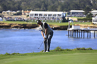 Former ice hockey star Wayne Gretzky (CAN) chips onto the 5th green at Pebble Beach Golf Links during Saturday's Round 3 of the 2017 AT&amp;T Pebble Beach Pro-Am held over 3 courses, Pebble Beach, Spyglass Hill and Monterey Penninsula Country Club, Monterey, California, USA. 11th February 2017.<br /> Picture: Eoin Clarke | Golffile<br /> <br /> <br /> All photos usage must carry mandatory copyright credit (&copy; Golffile | Eoin Clarke)