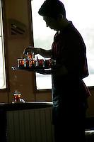 Turkish tea on an Istanbul ferry, Istanbul, Turkey