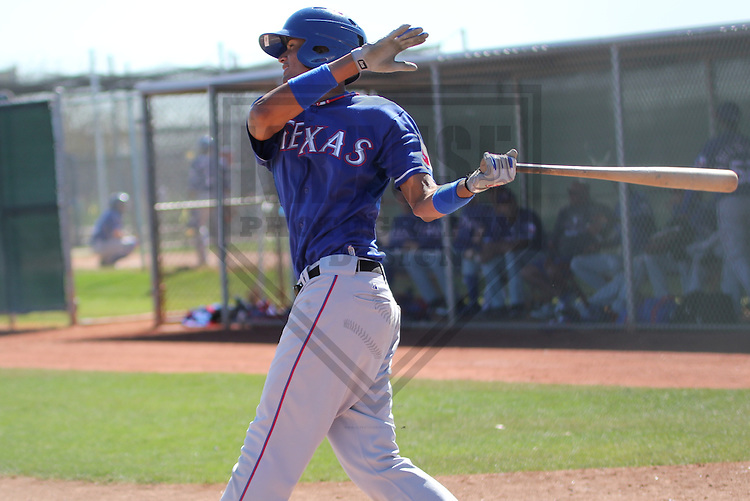 SURPRISE - March 2013: Jairo Beras  of the Texas Rangers during a Spring Training intrasquad game on March 12, 2013 at Surprise Recreation Campus in Surprise, Arizona. (Photo by Brad Krause). .