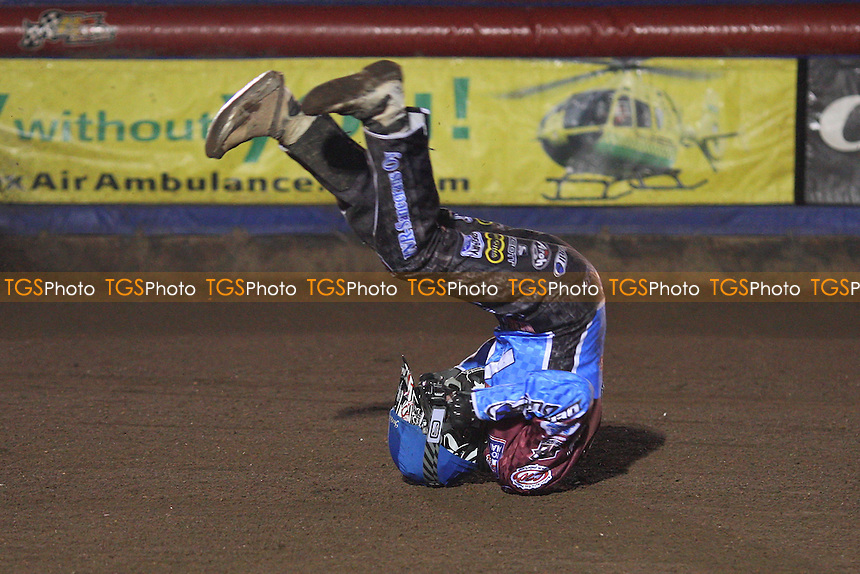 Heat 10: Kauko Nieminen crashes out - Lakeside Hammers vs Swindon Robins - Elite League Challenge Speedway at Arena Essex Raceway - 25/03/11 - MANDATORY CREDIT: Gavin Ellis/TGSPHOTO - Self billing applies where appropriate - Tel: 0845 094 6026