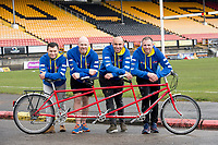 Picture by Allan McKenzie/SWpix.com - 04/04/2018 - Rubgy League - RL Cares Ride to Wembley - Provident Stadium, Bradford, England - Robbie Hunter-Paul, Keith Senior, Chev Walker & Andy Lynch with one of the tandems to be used in the RL Cares Ride to Wembley.