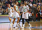 Apr. 6, 2014; Notre Dame Fighting Irish guard Kayla McBride and Jewell Loyd celebrate during the game against the Maryland Terrapins in the semifinals of the NCAA Final Four tournament at the Bridgestone Arena in Nashville, Tenn. Notre Dame defeated Maryland 87 to 61. Photo by Barbara Johnston/University of Notre Dame