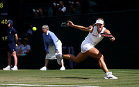 Angelique Kerber (GER) during her match against Naomi Osaka (JPN) in their Ladies' Singles Third Round match<br /> <br /> Photographer Rob Newell/CameraSport<br /> <br /> Wimbledon Lawn Tennis Championships - Day 6 - Saturday 7th July 2018 -  All England Lawn Tennis and Croquet Club - Wimbledon - London - England<br /> <br /> World Copyright &not;&copy; 2017 CameraSport. All rights reserved. 43 Linden Ave. Countesthorpe. Leicester. England. LE8 5PG - Tel: +44 (0) 116 277 4147 - admin@camerasport.com - www.camerasport.com