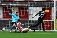 EMMEN - Voetbal, FC Emmen - Almere City, voorbereiding seizoen 2019-2020, 14-07-2019,  Hunte scoort 1-1 FC Emmen doelman Matthias Hamrol is kansloos