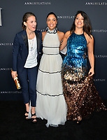 Tuva Novotny, Tessa Thompson &amp; Gina Rodriguez at the premiere for &quot;Annihilation&quot; at the Regency Village Theatre, Los Angeles, USA 13 Feb. 2018<br /> Picture: Paul Smith/Featureflash/SilverHub 0208 004 5359 sales@silverhubmedia.com