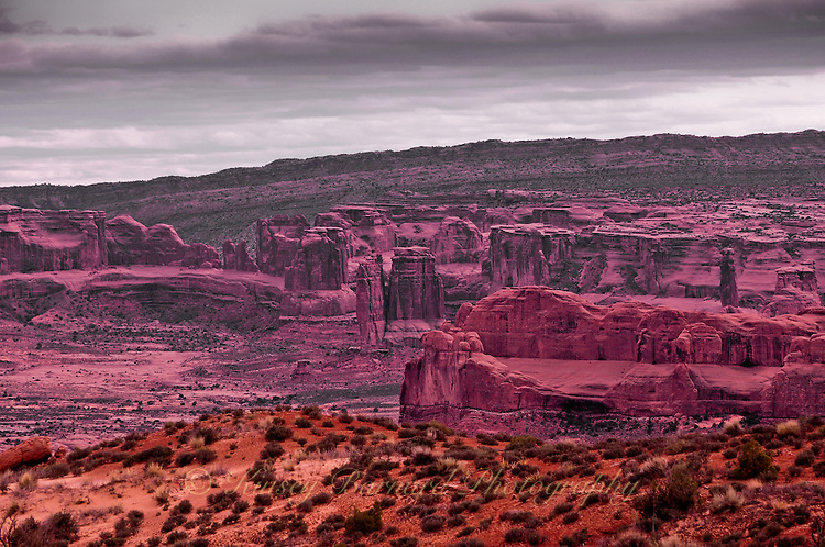 &quot;PURPLE MONUMENTS&quot;<br /> <br /> Arches National Park with a purple hue.
