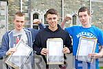 Noel Harrington Firies, Gary McGowan Killarney and Damian Kerins  Kilcummin celebrate after collecting their results in St Brendan's College on Wednesday