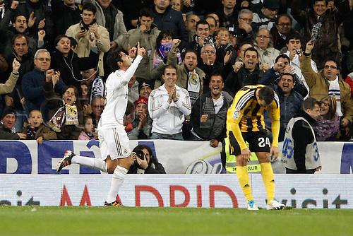 28.01.2012 SPAIN -  La Liga matchday 21th  match played between Real Madrid vs Real Zaragoza at Santiago Bernabeu stadium. The picture shows Ricardo Izecson Kaka (Real Madrid) celebrating his team's goal
