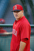 Mike Trout #27 of the Los Angeles Angels before a game against the Detroit Tigers at Angel Stadium on April 19, 2013 in Anaheim, California. (Larry Goren/Four Seam Images)