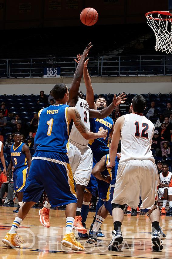 SAN ANTONIO, TX - FEBRUARY 12, 2013: The California State University at Bakersfield Roadrunners vs. the University of Texas at San Antonio Roadrunners Men's Basketball at the UTSA Convocation Center. (Photo by Jeff Huehn)