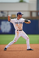 Charlotte Stone Crabs shortstop Tyler Frank (5) throws to first base during a Florida State League game against the Palm Beach Cardinals on April 14, 2019 at Charlotte Sports Park in Port Charlotte, Florida.  Palm Beach defeated Charlotte 5-3.  (Mike Janes/Four Seam Images)