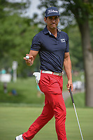 Rafael Cabrera Bello (ESP) after sinking his putt on 2 during 1st round of the World Golf Championships - Bridgestone Invitational, at the Firestone Country Club, Akron, Ohio. 8/2/2018.<br /> Picture: Golffile | Ken Murray<br /> <br /> <br /> All photo usage must carry mandatory copyright credit (&copy; Golffile | Ken Murray)