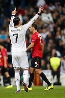 Real Madrid's Cristiano Ronaldo celebrates goal during Champions League 2012/2013 match.February 12,2013. (ALTERPHOTOS/Alfaqui/Cesar Cebolla) /NortePhoto
