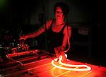 pvc060811a/6-8-11/arts.  Corey Clark (CQ), a neon tube fabricator at Zeon Signs, processes a neon tube, photographed Thursday June 9, 2011.  (Pat Vasquez-Cunningham/Journal)