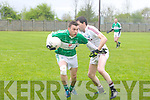 Na Gaeil's Kieran O;Donovan and Dromid Pearses Paul Fitzgerald at the Junior Chapionship Round 1 Na Gaeil Vs Dromid Pearses at Na Gaeil ground on Saturday