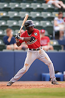 Birmingham Barons shortstop Tim Anderson (7) at bat during a game against the Biloxi Shuckers on May 24, 2015 at Joe Davis Stadium in Huntsville, Alabama.  Birmingham defeated Biloxi 6-4 as the Shuckers are playing all games on the road, or neutral sites like their former home in Huntsville, until the teams new stadium is completed in early June.  (Mike Janes/Four Seam Images)