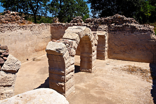 Cellar with romanesque arches at the Hellanistic Ionic Apollo Smintheion Sanctuary near Gulpinar Village Turkey. The Temple of Apollo is dedicated rather bizarrely to Apollo as a Slayer of Mice.