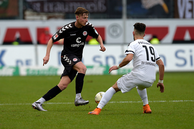 GER - Sandhausen, Germany, March 19: During the 2. Bundesliga soccer match between SV Sandhausen (white) and FC ST. Pauli (grey) on March 19, 2016 at Hardtwaldstadion in Sandhausen, Germany. (Photo by Dirk Markgraf / www.265-images.com) *** Local caption *** Marc Hornschuh #16 of FC St. Pauli, Leart Paqarada #19 of SV Sandhausen