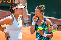 Paris, France, 30 May, 2018, Tennis, French Open, Roland Garros, Womans Doubles : Lesley Kerkhove (NED) and Morozava<br /> Photo: Henk Koster/tennisimages.com